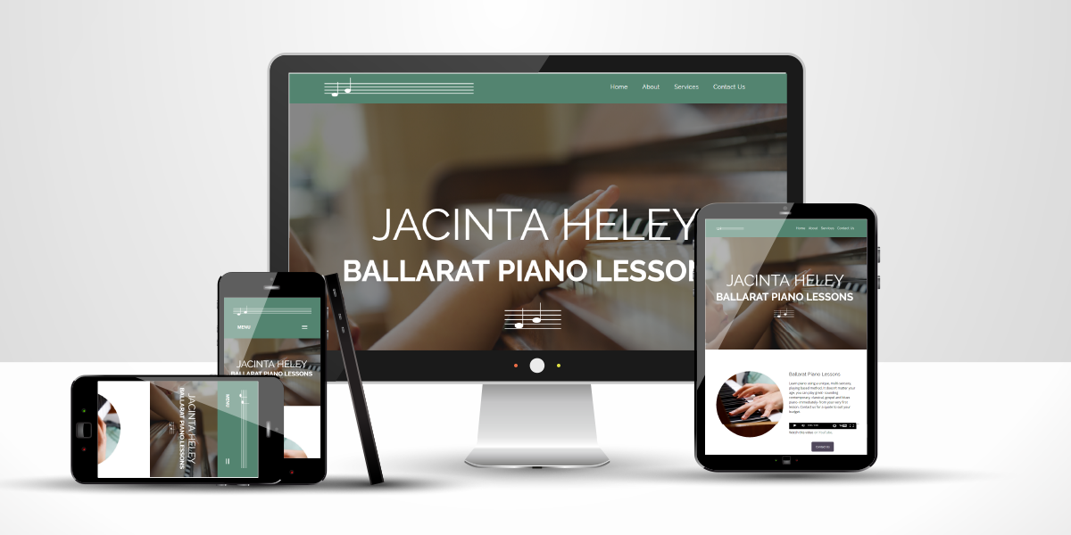 Ballarat Piano Lessons website displayed on different devices